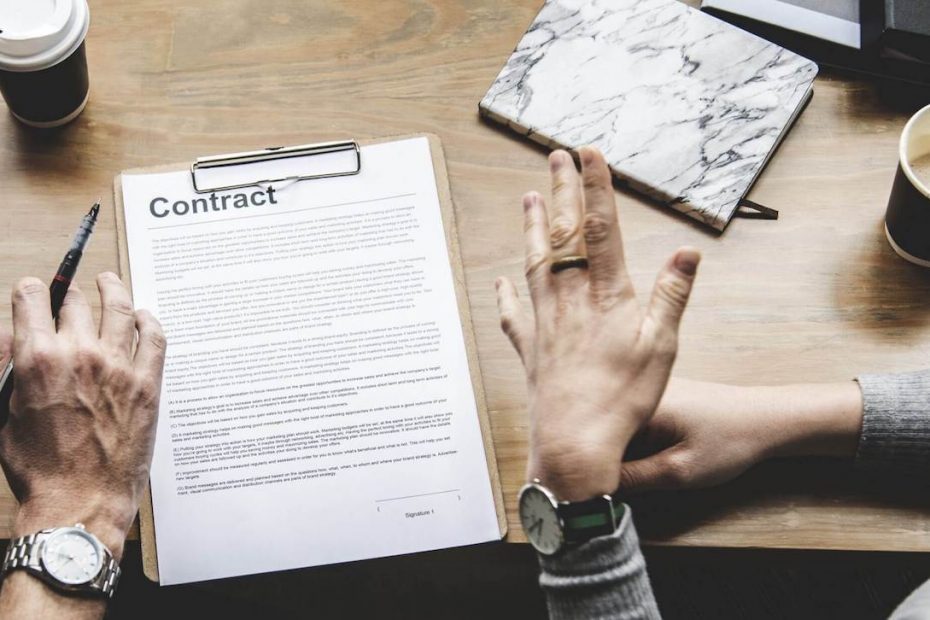 Contract on a desk